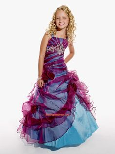 Little Girl Pageant Dresses,Affordable A-Line  Strap  floor length Pageant Dress for Girls by Tiffany Princess 13256
