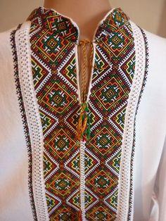 embroidery Ukraine, from Iryna Polish Embroidery, Cross Stitch Embroidery, Embroidery Patterns, Hand Embroidery, Folk Fashion, Mens Fashion, Ethno Style, Kurta Designs, Folk Costume