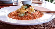 Tomato Risotto With Garlic Chilli Prawns.