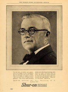 1924 Ad Shur-On Spectacles Round Rim Eye Glasses NY