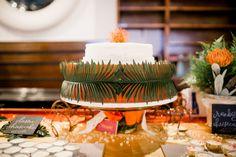 tropical cake - photo by Grey to Blue Photography http://ruffledblog.com/tropical-west-coast-inspired-wedding