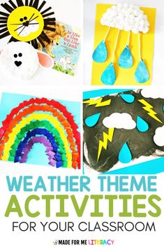 Need spring weather themed activities for your classroom? Check out this blog post with tons of hands-on and engaging literacy, math, science, art, and sensory ideas kids will love! These fun printable lesson plans are great for preschool, kindergarten, homeschool, or special education students. Toddlers will love the sensory bin and crafts! FREE RAINBOW TEMPLATE! #teacherfreebie #kidsactivities