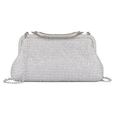 530e2eb609a Kisschic Womens Dazzling Rhinestone Wedding Clutch Purse Evening Bags  Silver ** Check this awesome product