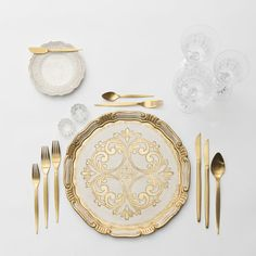 RENT: Florentine Chargers in White/Gold + Lace Dinnerware in White + Celeste Flatware in Matte Gold + Vintage Cut Crystal Goblets + Early American Pressed Glass Goblets + Vintage Champagne Coupes + Antique Crystal Salt Cellars  SHOP:Florentine Chargers in White/Gold