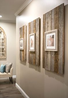 Rustic Home Decor Modern Farmhouse Reclaimed Wood Backdrop for Picture Frames.Rustic Home Decor Modern Farmhouse Reclaimed Wood Backdrop for Picture Frames Decor Room, Diy Home Decor, Bedroom Decor, Rustic Bedroom Design, Wood Home Decor, Bedroom Ideas, Picture Frame Decor, Pallet Picture Frames, Modern Picture Frames