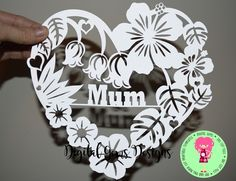 Mum Heart Flower Papercut Template SVG / DXF by DigitalGems