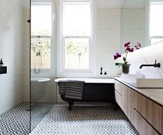 One of the most popular interior design for home is modern. The modern interior will make your home looks elegant and also amazing because of its natural material. If you want to design your home inte Small Bathroom Layout, Family Bathroom, Laundry In Bathroom, Modern Bathroom, Tiled Bathrooms, White Bathrooms, Bathroom Cabinets, Bathroom Vanities, Morrocan Tiles Bathroom