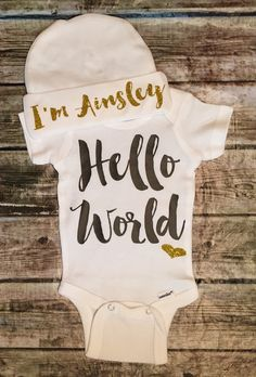A personal favorite from my Etsy shop https://www.etsy.com/listing/249258063/hello-world-onesie-baby-girl-newborn