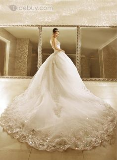 839f72ca1c7ce Luxurious Ball Gown Strapless Beads Cathedral Train Lace-up Wedding Dress    Tidebuy.com