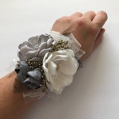 Greys and Gold Wrist Corsage or Pin Corsage Charcoal Black image 1 Gold Corsage, White Corsage, Prom Corsage And Boutonniere, Flower Corsage, Corsage Wedding, Corsages, Homecoming Flowers, Homecoming Corsage, Homecoming Pictures