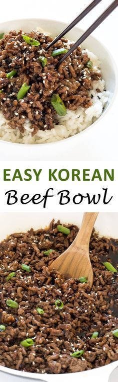 20 Minute Korean Beef Bowls! A shortcut version of traditional Korean Beef served over white rice! | Posted By: DebbieNet.com