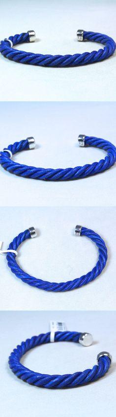 Bracelets 137835: New David Yurman Men S Color Classic Blue Leather Cuff Bracelet Silver 8 $450 -> BUY IT NOW ONLY: $385 on eBay!