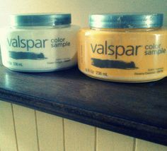 Homemade chalk paint with Valspar samples: 1 c. paint, 1/2 c. baking soda. Wax to finish