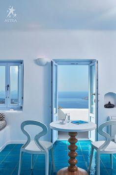 Imerovigli Suites Santorini - Hotel Astra Suites in Imerovigli Santorini suites for rent accommodation in Santorini with volcano and sea views Santorini Suites, Imerovigli Santorini, Studios, Vanity, Places, Furniture, Home Decor, Greece, Pretty