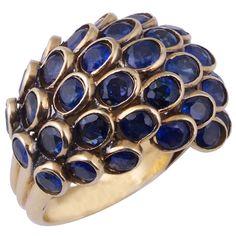 RENE BOIVIN. A Sapphire Nid DAbeilles Ring.