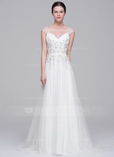 A-Line/Princess Sweetheart Sweep Train Beading Appliques Lace Sequins Zipper Up Cap Straps Sleeveless Church General Plus No Spring Summer Fall Ivory Tulle Wedding Dress