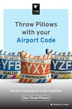 Cool Gifts // City-Themed // Travel-Inspired by YHMDesigns Aviation Decor, Tag Design, Inspired Homes, Designer Throw Pillows, Custom Pillows, Decoration, Cool Gifts, Coding, Bangkok Thailand