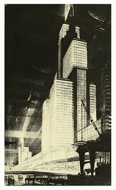 Ask me to name the precursors of Dieselpunk and Hugh Ferriss will be one of the first names on my list. Architecture Design, Architecture Drawings, Futuristic Architecture, Inspiration Artistique, Art Deco Buildings, Retro Futuristic, Brutalist, Dieselpunk, Drawing People