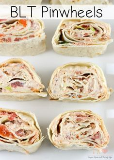 BLT Pinwheels Recipe - Sugar, Spice and Family Life Tortilla Pinwheels, Tortilla Rolls, Roll Ups Tortilla, Meat Appetizers, Appetizers For Party, Appetizer Recipes, Parties Food, Dinner Recipes, Appetizer Ideas