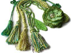Flower bag charm Tassel bag charm Neon green by bestknitforyou