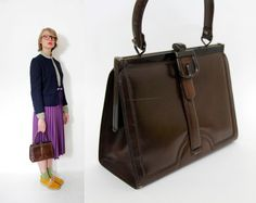 Vintage bag / 60s brown leather handbag by nemres on Etsy
