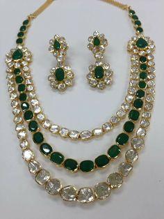 Zevar Emporium indian polki jewellery Uncut diamond with Semi Parsec Stone Indian Jewelry Sets, Indian Wedding Jewelry, Bridal Jewelry, Bridal Necklace, Indian Bridal, Necklace Set, Emerald Jewelry, Diamond Jewelry, Diamond Necklaces