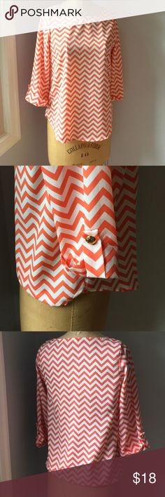 Chevron Blouse! Orange (not too bright) chevron blouse with gold button-cuff detail on 3/4 sleeves! Everly Tops Blouses