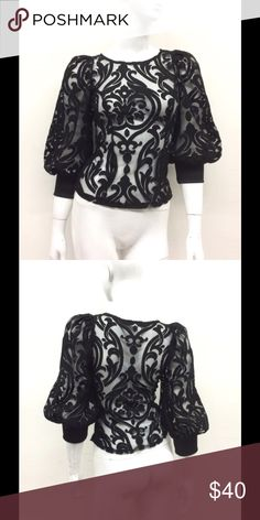 BLACK - Puff Sleeve Burn Out Lace Top BLACK - Puff Sleeve Burn Out Lace Top. Sheer. Made in USA. LAST ONE!!!!! Size small. Tops