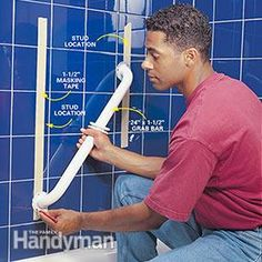 Make your bathroom safer and more versatile by adding grab bars. In your bathtub or shower grab bars provide extra security for that first slippery step. We'll show you the best way to install them. Shower Grab Bar, Grab Bars In Bathroom, Walk In Shower, Yellow Bathroom Decor, Beach Theme Bathroom, Handicap Bathroom, Small Bathroom, Silver Bathroom, Bathroom Wall