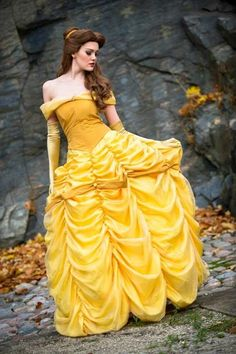 Belle cosplay Disney Princess Beauty & the Beast Costume Gown Dress #timetravelcostumes @TimeTravelStyle