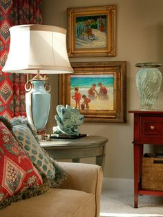 Coral Accented Room, Love the blend of color pulled from fabrics.