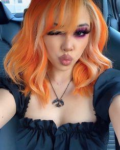 Hair Color Streaks, Hair Dye Colors, Cool Hair Color, Hair Highlights, Exotic Hair Color, Orange Highlights, Curly Hair Styles, Natural Hair Styles, Dye My Hair