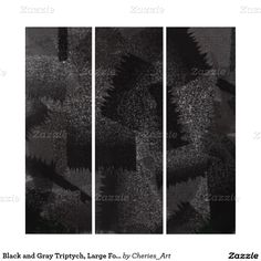 Black and Gray Triptych, Large Format Art Triptych
