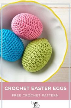 These cute little crochet Easter eggs are just the thing to complete your seasonal decorations and make perfect little gifts too! Using the amigurumi crochet technique, you can whip some up in no time with only the basics of crochet so even if you're just learning you'll be just fine. The free crochet pattern includes step by step photos and both UK and US crochet terms. #crocheteastereggs #amigurumiegg #eggcrochetpattern