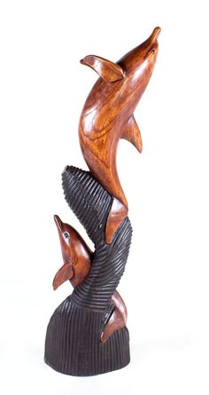 Best Large Triple Dolphin Statue Solid Wood Hand Carved in Bali Last  DU09