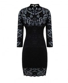 Black Sexy V Neckline and Body-con Lace Dress with Elbow Sleeves