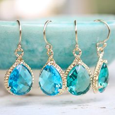 faceted sea blue green glass earrings