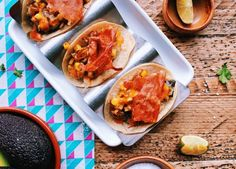 Fire-roasted cactus & courgette tacos