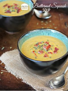 Paleo Slow Cooker Butternut Squash Soup recipe - www.PaleoCupboard.com