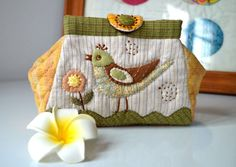 """Cosmetic Pouch / Bag """"Swan Lake"""" - Patchwork and Quilting. DIY Boxy Makeup Bag. Photo Sewing Step by step Process."""