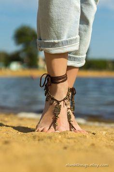 Owl barefoot sandals Beach wedding Foot jewelry barefoot sandal Soleless sandals Boho Bottomless sandals Footless sandals Festival clothing by Elvish Things