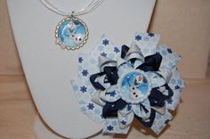 Frozen Olaf Bow and Necklace Set by GirlyGoozBoutique on Etsy