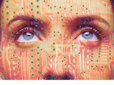 PhotoShop composite of 2 StockByte photos, using a displacement map to contour the circuit board image over the image of the woman's face.