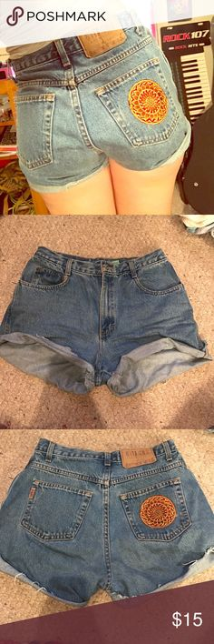 High waisted shorts So in love with these just don't fit anymore ): I got this really cool patch at Bonnaroo over the summer and stitched it on, the shorts aren't cute exactly even, but when rolled, like I always wore them, they look great! Size ten and some small signs of wear, not forever 21 Forever 21 Shorts Jean Shorts