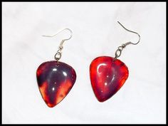 Cracked & Bloody Guitar Pick Earrings, $8.00