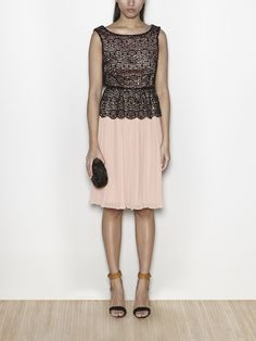 Vestido midi encaje bordado y falda plisada | Hoss Intropia Spain