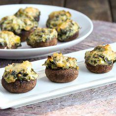 Spinach artichoke dip stuffed mushrooms - Snixy Kitchen