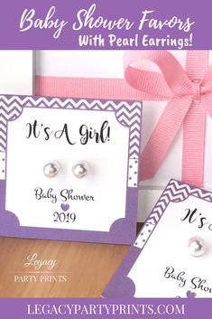 It's A Girl Purple Baby Shower Favors With White Pearl Earrings Baby Shower Favors Girl, Baby Shower Purple, Purple Baby, Unique Baby Shower, Bridal Shower Favors, Baby Shower Games, Baby Shower Invitations, Baby Showers, Unique Party Favors