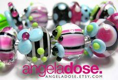 Best Girlfriend Handmade Lampwork Bead Set by angeladose on Etsy