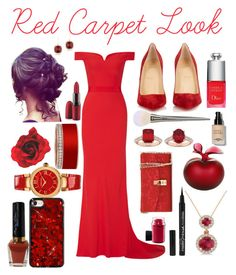 """red carpet"" by diathediamond on Polyvore featuring Alexander McQueen, Christian Louboutin, Versace, MAC Cosmetics, Kosta Boda, Lalique, Allurez, Dolce&Gabbana, Christian Dior and Bobbi Brown Cosmetics"